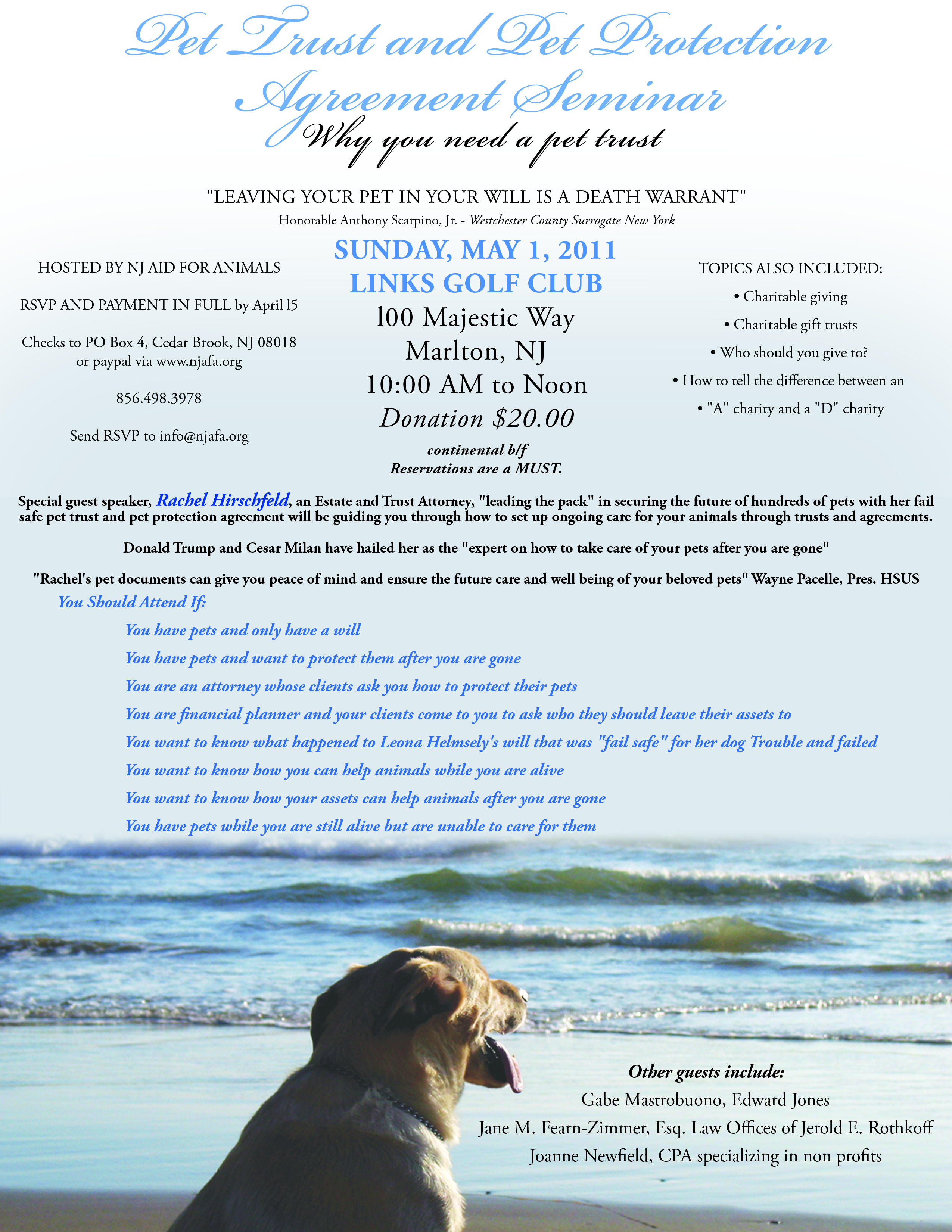 5111 Pet Trust Protection Agreement Seminar Nj Aid For